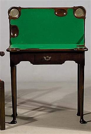 Queen Anne style mahogany games table la