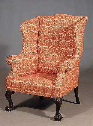 Chippendale style mahogany wing chair sli