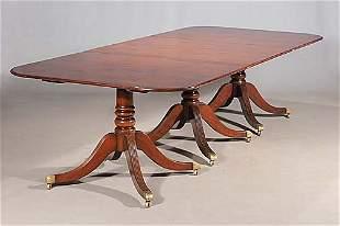 Regency style mahogany three-pedestal din