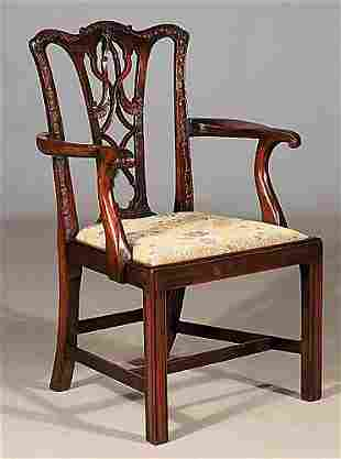 Georgian carved mahogany dining chairs, s