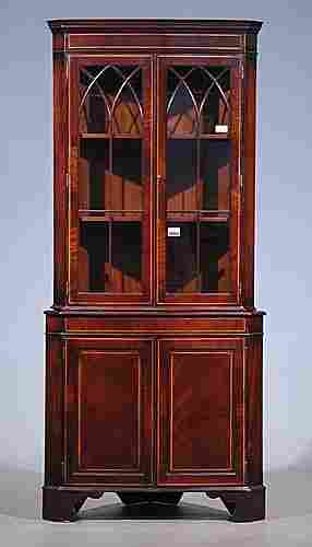 Georgian style inlaid mahogany corner cup