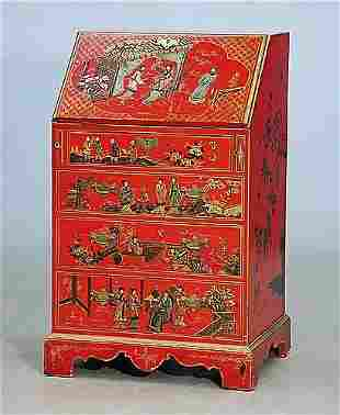 Georgian style chinoiserie lacquered bure