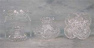 Four cut-glass objects one small bulbous