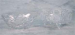 Two cut-glass bowls one with oval body a