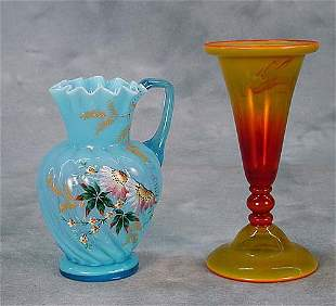 Two pieces of art glass one painted blue