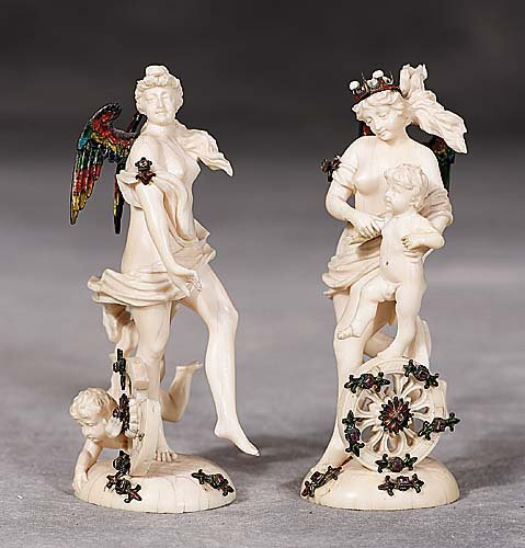 406: Pair Continental ivory angels  late 19th