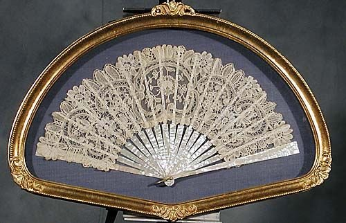 408: Mother-of-pearl and silk embroidered fan
