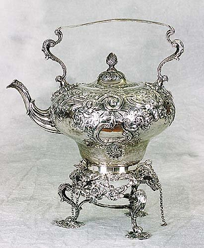 422: Victorian sterling kettle on stand, by C