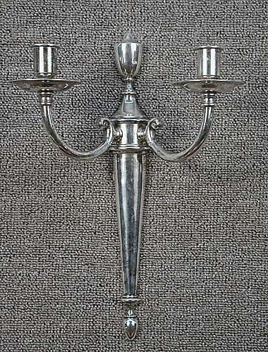 007: Pair silverplate two-light wall sconces