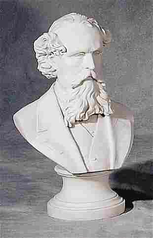 001: Parian ware bust of gentleman 19th centu