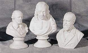 004: Three Parian ware busts 19th century Gar