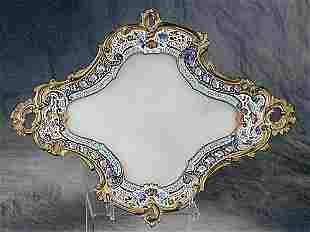 006: French enameled metal and onyx tray circ