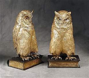 008: Bergman gilt-bronze owl bookends each fi