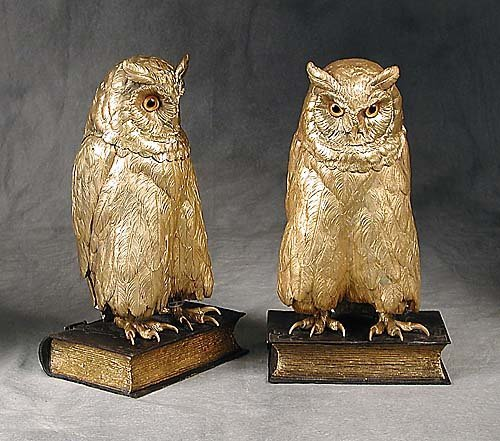 008: Bergman gilt-bronze owl bookends each fi