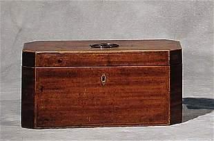 009: William IV inlaid mahogany tea caddy cir
