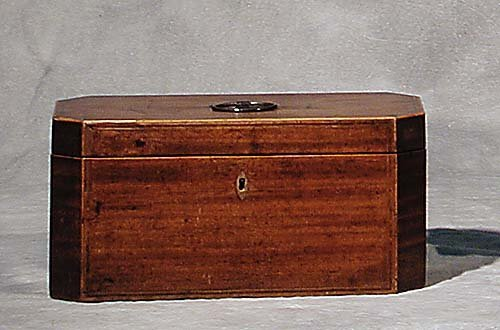 009: William IV inlaid mahogany tea caddy cir