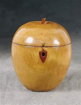 015: Fruitwood apple-shaped tea caddy domed a
