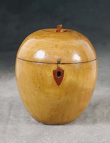 015: Fruitwood apple-shaped tea caddy domed a