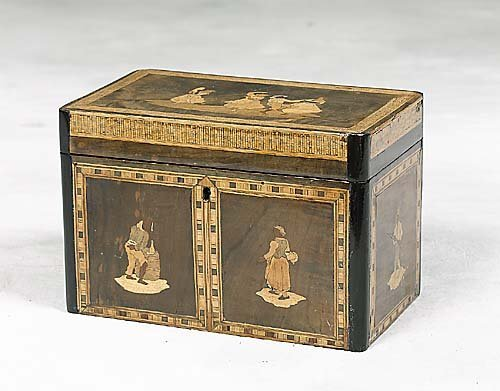 016: English walnut inlaid tea caddy last qua