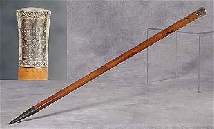 018: Gold-capped walking stick 19th century h
