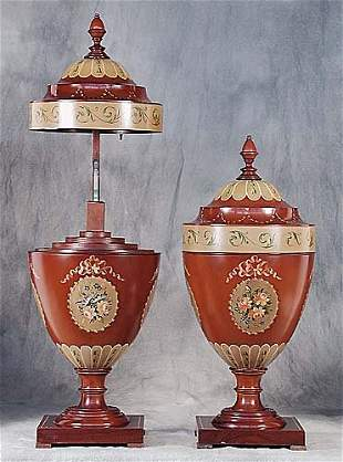 019: Pair Adam style painted knife urns each