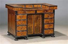 174: Italian inlaid walnut kneehole desk mid