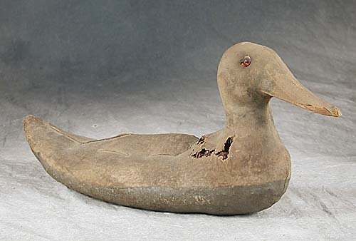 410: Wood and canvas stuffed duck decoy circa