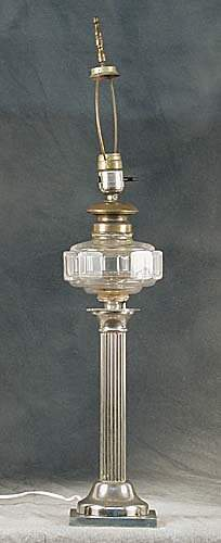 Silverplate and glass lamp circa 1900 cl