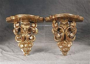 Pair carved giltwood wall brackets late