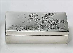 Japanese silver box with cover mid 20th