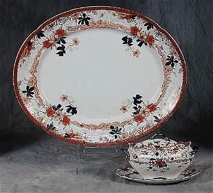 English earthenware platter and sauce tu