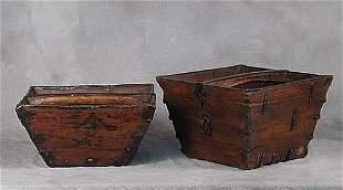 Two Chinese iron-bound wood buckets circ