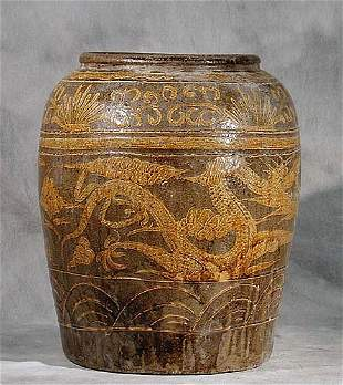 Chinese salt-glazed stoneware storage ja
