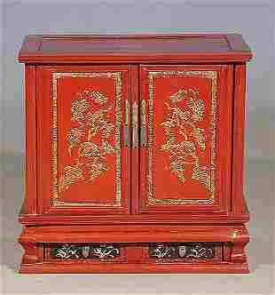 Chinese red lacquered bedside table rect