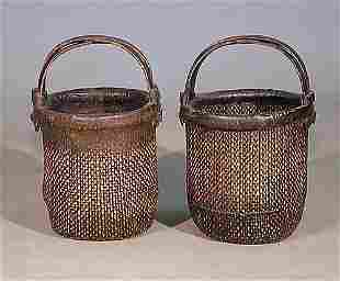 Two Chinese rattan rice baskets early 20