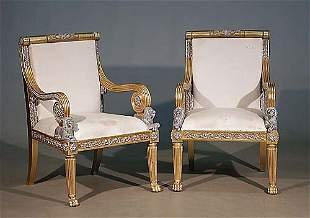 Pair Continental carved giltwood and pai
