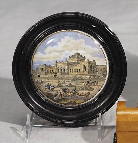 Framed Pratt pot lid-Philadelphia Exposition