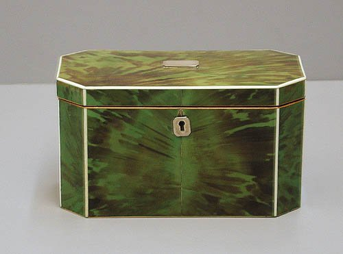 Rare George III green tortoiseshell tea caddy