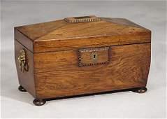 Regency rosewood tea caddy-circa 1820 -a cask