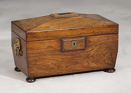 Regency rosewood tea caddy-circa 1820 -a cask