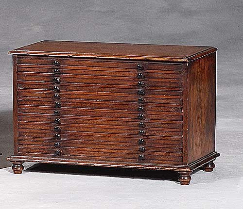 English mahogany miniature collector's chest