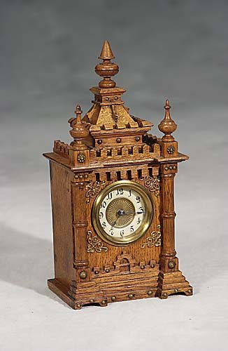 Oak case two tune musical clock-circa 1900 -a