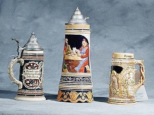 Three German steins-20th century -one fitted