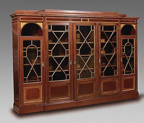 Very fine English inlaid mahogany breakfront