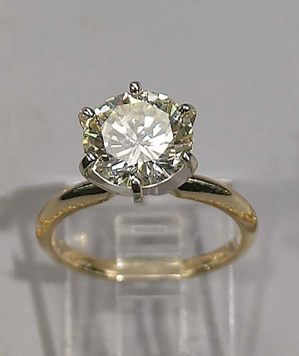 Gold and diamond solitaire ring-brilliant-cut