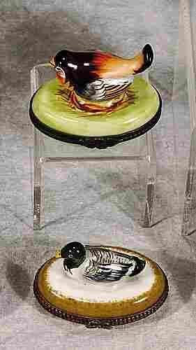 006: Two French porcelain bird boxes one with