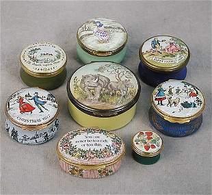012: Eight English enamel boxes five round an