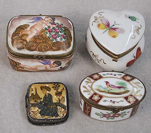 013: Four antique style boxes one French oval