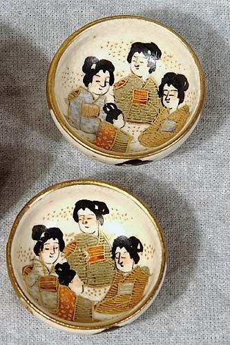 015: Pair Satsuma earthenware salts early 20t