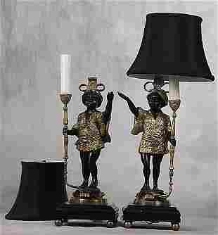 019: Pair of bronze figural lamps each in the
